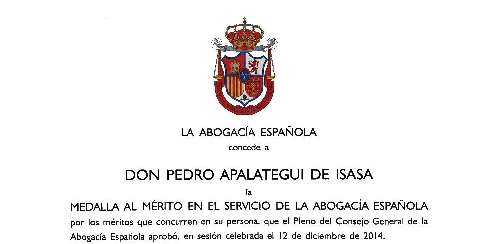 Medalla al Mérito en el Servicio de la Abogacía Española