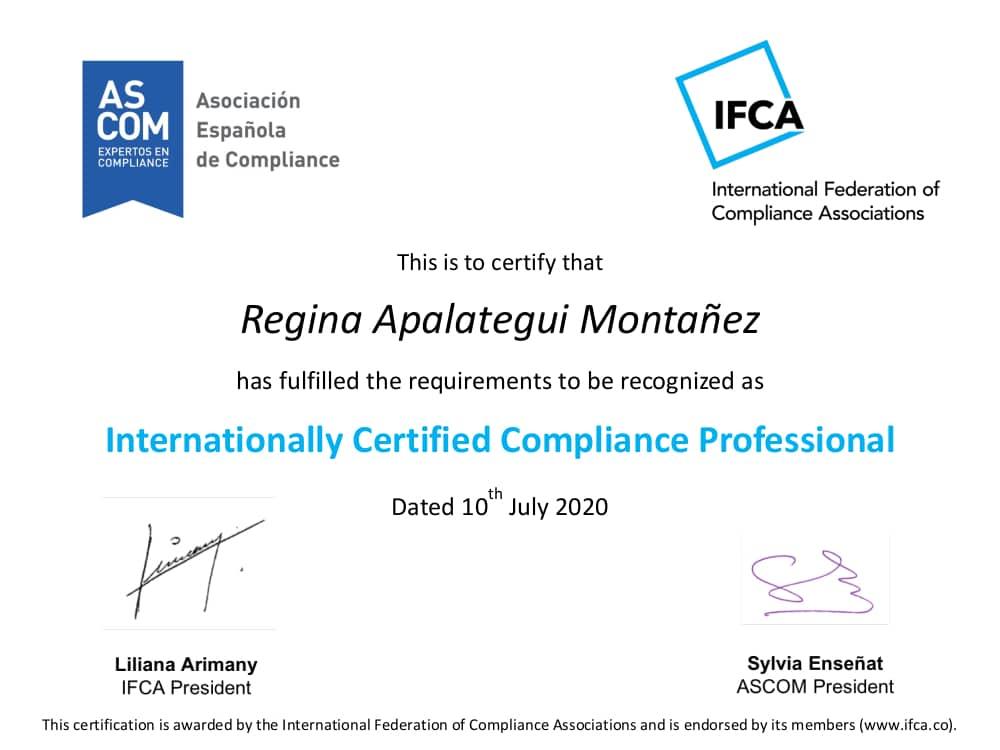 International Compliance Certification