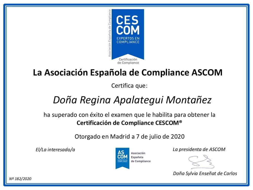 Certificación de Compliance CESCOM