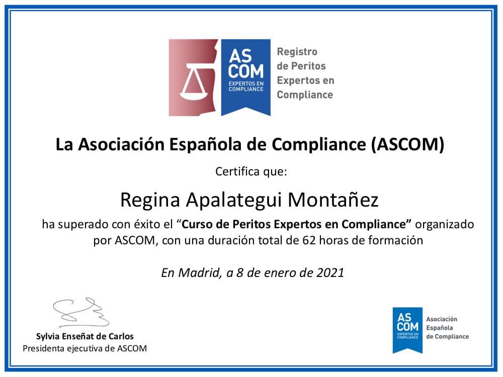 Certificado Peritos Expertos en Compliance, Regina Apalategui Montañez